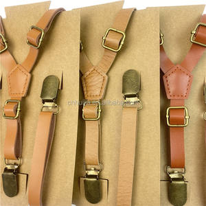 High Quality Vintage Tan Kustom Custom Kurus Fashion Kulit Suspender Belt Pria Suspender Belt