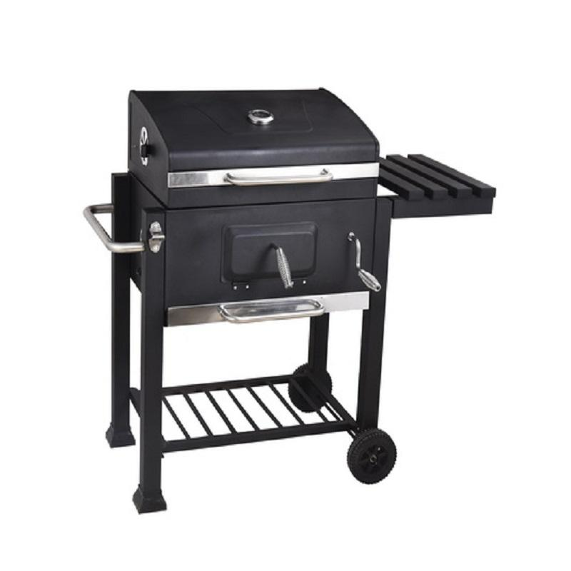 Heavy Barrel Square Trolley Cast Iron Grill Smoker