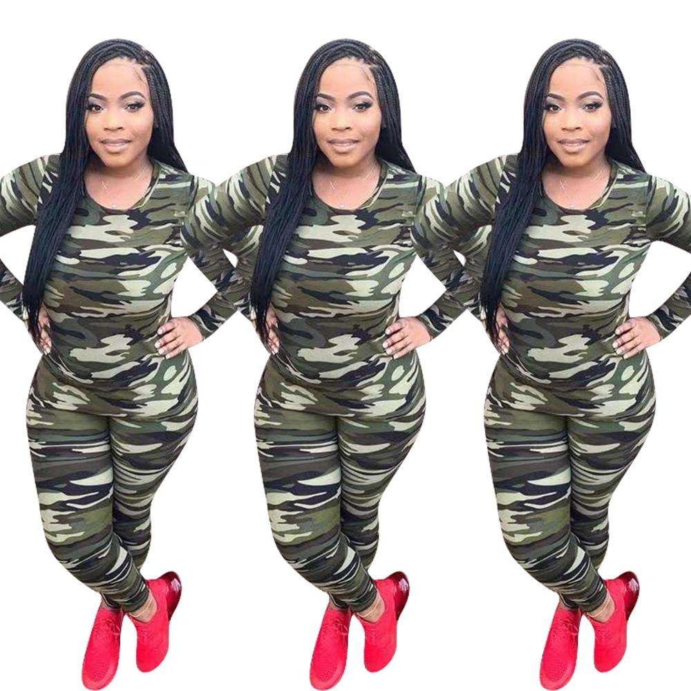 2021 clothing YD8354 hot selling camouflage women's autumn and winter sports leisure Women's clothing two piece set 2021