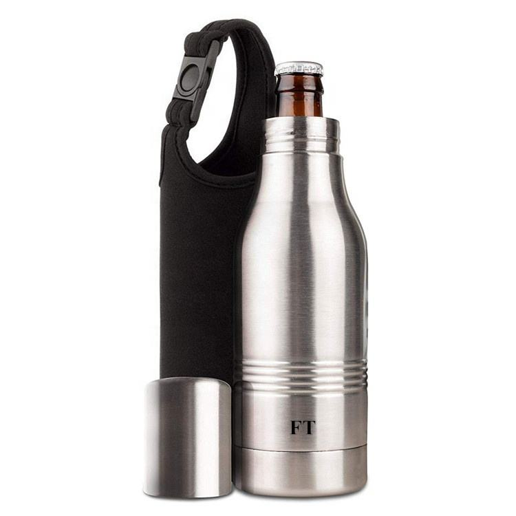Custom 12oz 16oz Stainless Steel Beer Bottle Insulator Can Cooler Thermos Slim Beer Can Holder with Carrying Bag