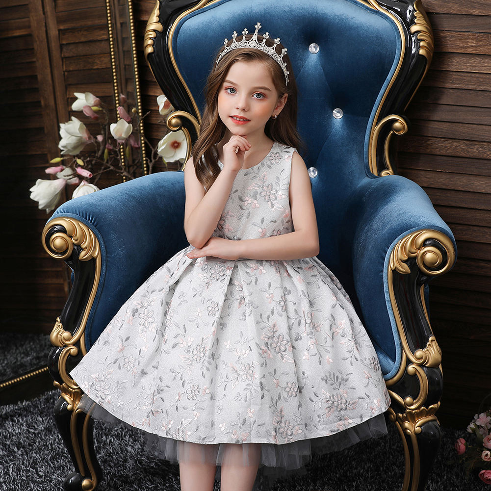 Noble princess flower girl dress Long tailed Girl Wedding gown s for 4-14 years old Custom fashion kid Evening Dress