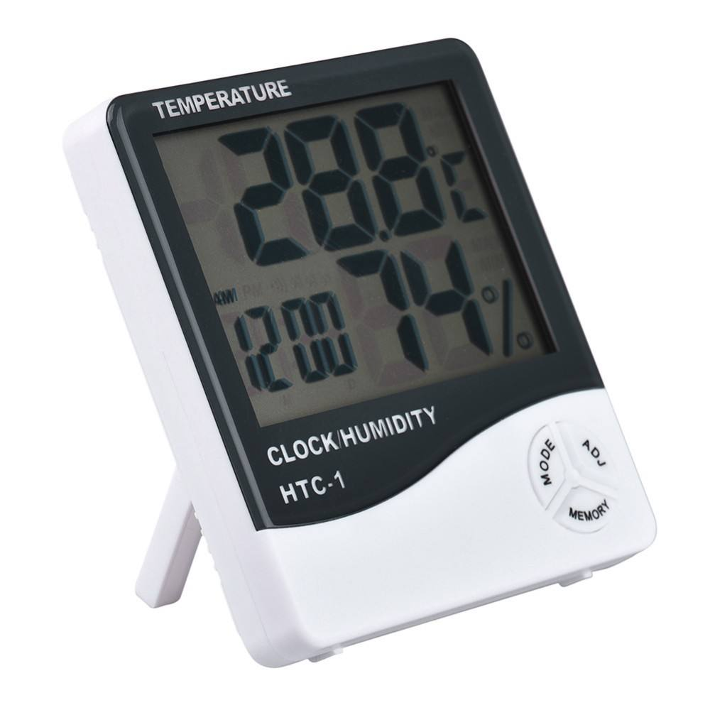 New LCD Digital Temperature Humidity Meter with Alarm Clock Hygrometer HTC-1