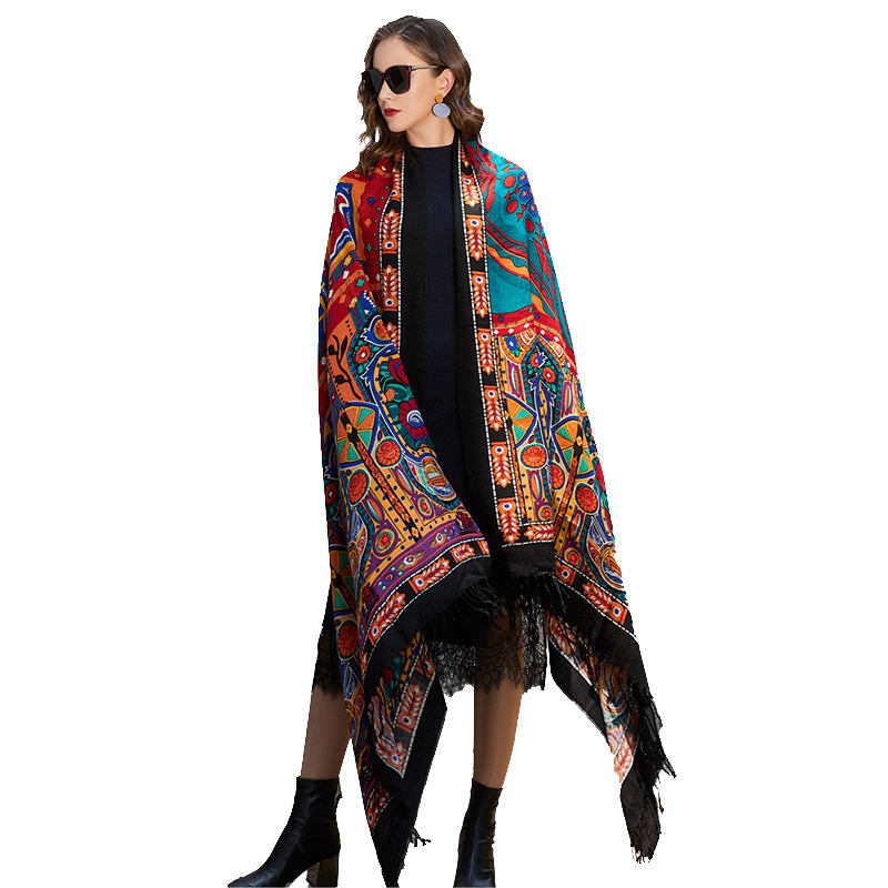 customize wool cashmere ponchofle shawl pakistan wool kashmir pashmina scarf