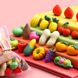 Kids Cute Cheap 3d Eraser Fruit And Vegetable Shaped Creativ