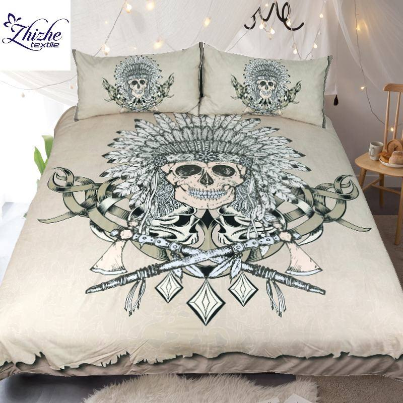 3D Indian style skull skeleton printed polyester fabric bedding set ready to ship