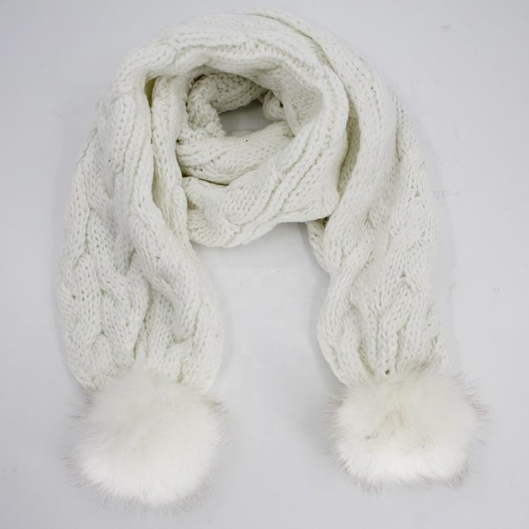 China wholesale websites ladies women scarves acrylic winter scarf with fox fur fuzz ball