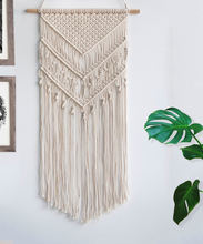 Boho Chic Bohemian macrame cord woven wood wall Hanging sign Home Geometric Art Decor