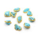 Gold plating Natural Blue Howlite Small Nugget Stone Spacer Loose Beads Wholesale