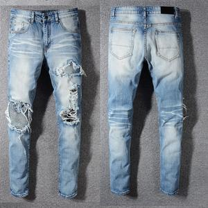 New Italy Style #570# Men's Distressed Holes Ripped Pants Broken Patches Washed Blue Skinny Jeans Slim Trousers Size 28-40