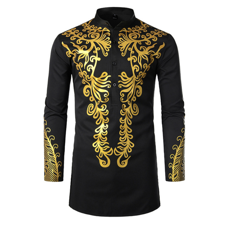 New Design Muslim Men Clothing Kaftan Arabic Shirt Islamic Gold Stamping Large Size Robe Shirt