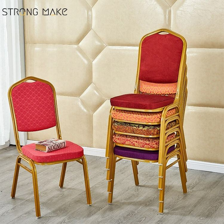 Wholesale Cheap Hotel Party Stackable Aluminium fabric Upholstered Padded throne Banquet Chair for banquet hall wedding events