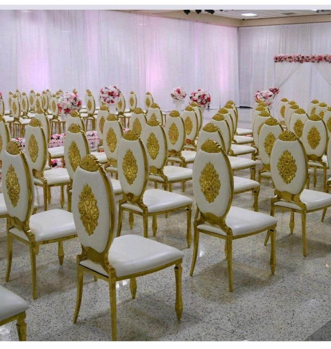 Hot Sales Luxury Wedding Event Gold Reception Chair Stainless Steel PU upholster Dining Chair