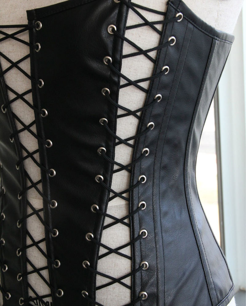 Hot selling Black Leather Corset Lace up Fastening Hollow Out Sexy Bustier Corset Women Waist Cincher Slim Leather Corsets