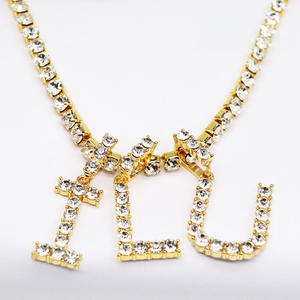Diamond Tennis Chain Choker Cz Zircon Rhinestone Letter Charms Initial Letter Pendant Necklace