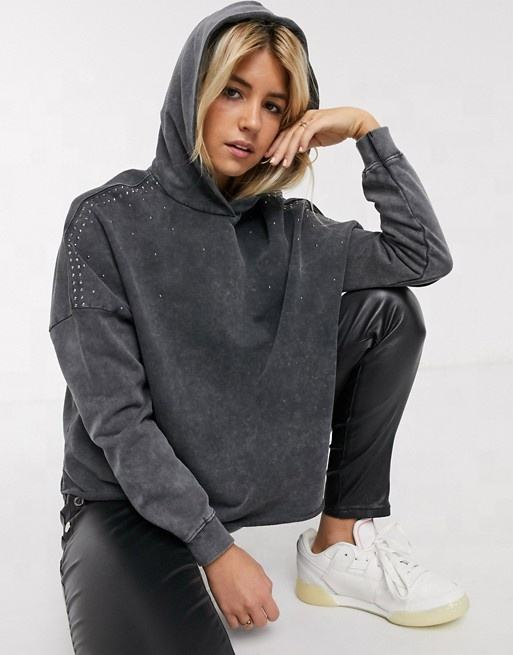 Cheapest 100% cotton stud detail hoodie in washed grey plain women pullover hoodies
