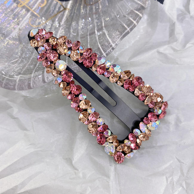 2020 Korean Colorful Drill BB hairpin hollow-out water drops square triangle super flash bangs hair clip