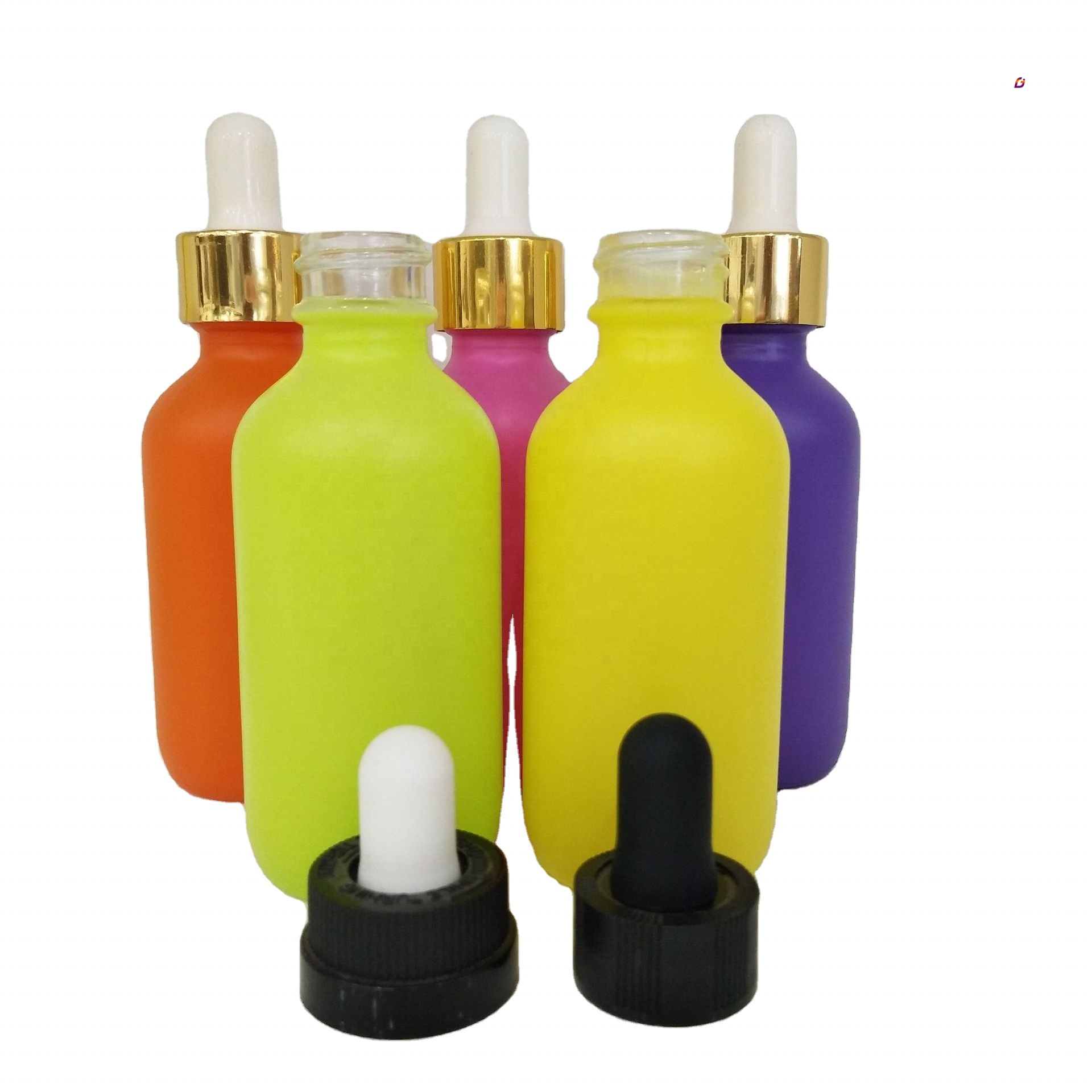 Cosmetics oil cosmetic container glass cylinder dropper bottle pink 2 tone essential oil bottles with dropper 2oz