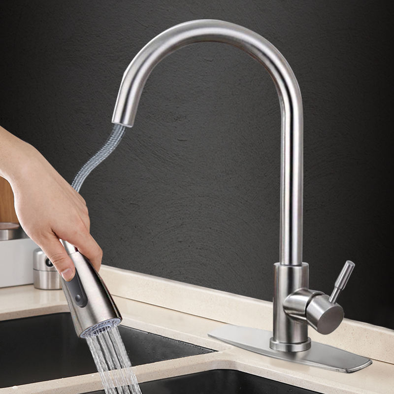 304 Kitchen Faucet Sink Tap With Single Handle 304 Stainless Steel Kitchen Sink Faucet