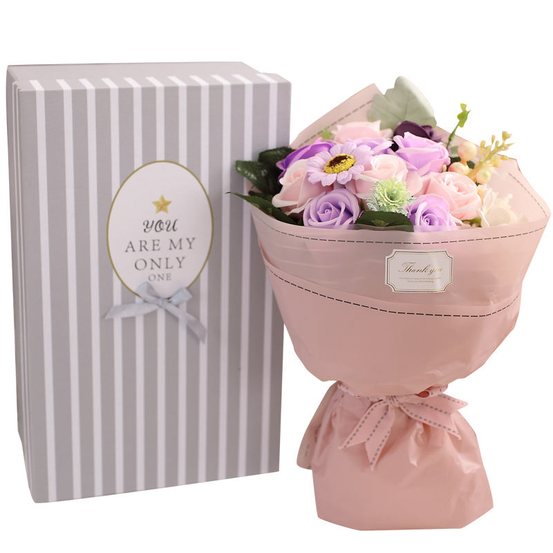 new design of 9 pcs soap flower bouquet for christmas gifts and corporate gifts idea