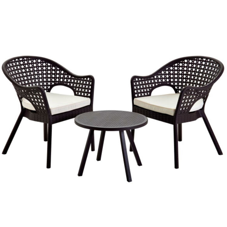 Rattan Pattern Plastic Outdoor Furniture Rattan Dining Tables Leisure Chair 3 Piece Bistro Set