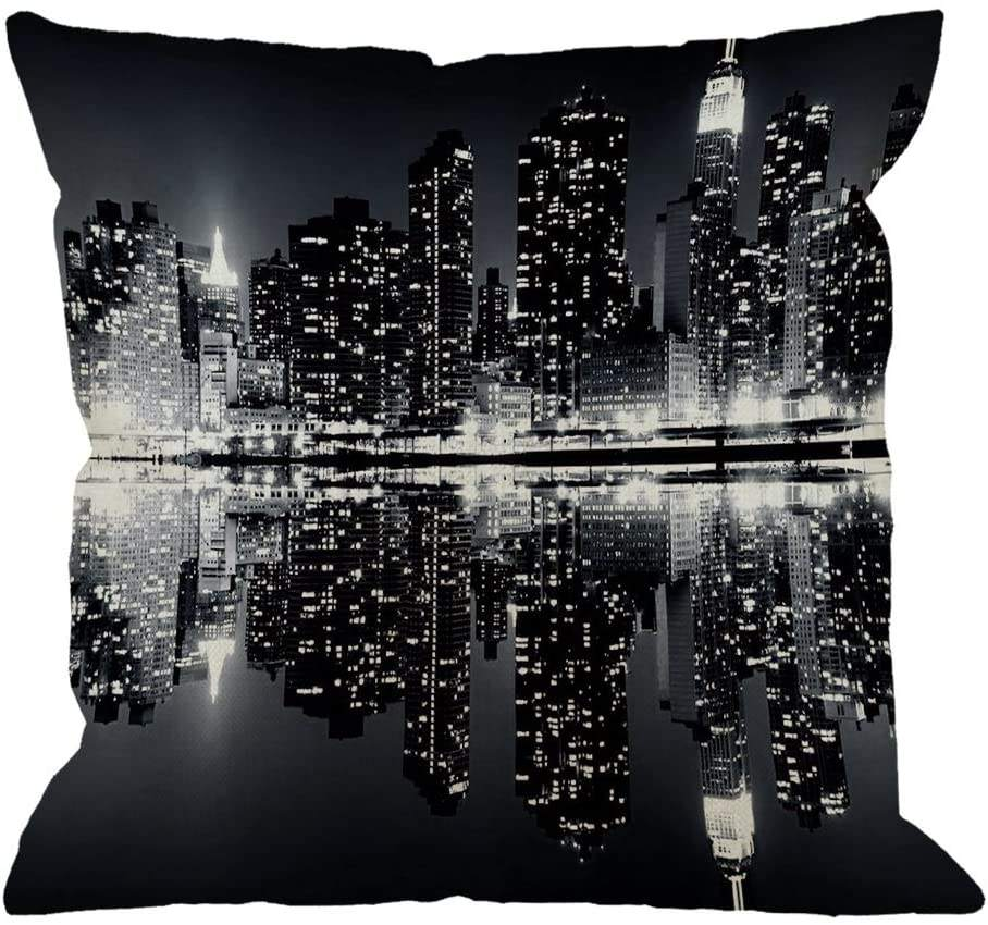 Throw Pillow Cover New York Night City Landscape Rise Building Black Home Decorative Pillow Case for Sofa Couch 18x18