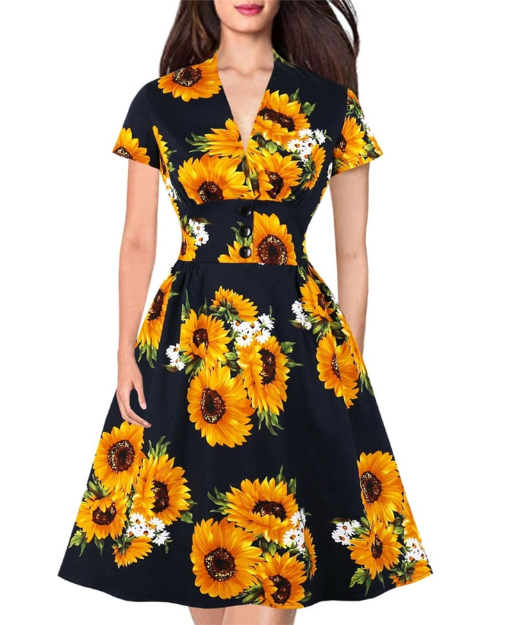sexy party queen dress deep V neck side split floral summer dresses