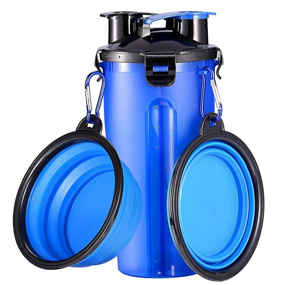 Wholesales Outdoor Dog Water Bottle Traveling Pet Food Container 2-in-1 with Collapsible Dog Bowls