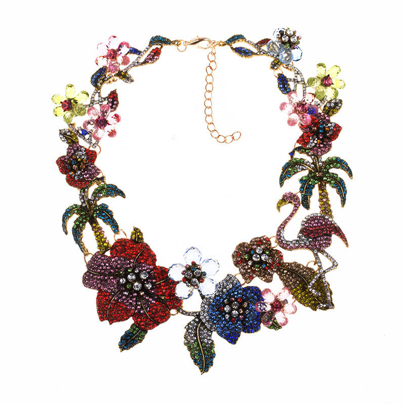 Colorful Crystal Rhinestone Flowers Flamingo Choker Necklace For Women Statement Large Collar Necklace Jewelry Female
