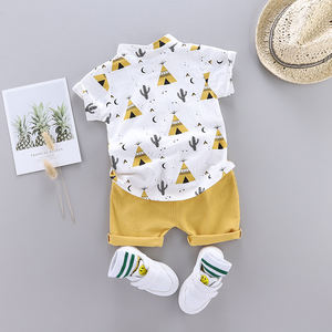 Wholesale yiwu 2 year boys summer clothes baby boy clothing sets white Cool boy T-shirt button shirt