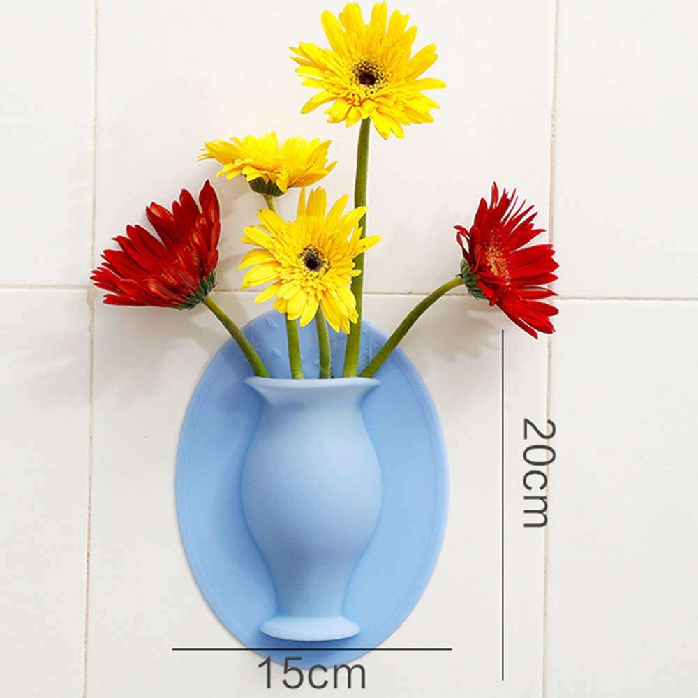Reusable Wall Mounted Flowers Holder Removed Magic Silicone Sticky Flower Vase Pot