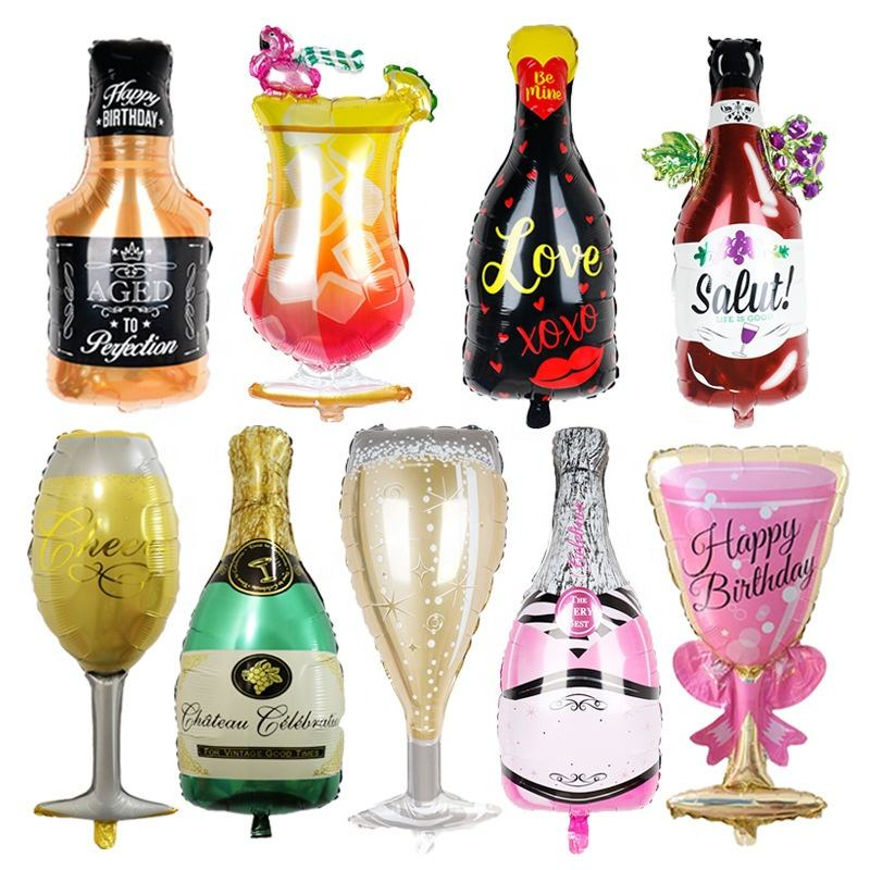 40Inch Large Champagne Bottle Wine Goblet Glass Mylar Helium Foil Balloon for Wedding Bridal Shower Birthday Party Decoration
