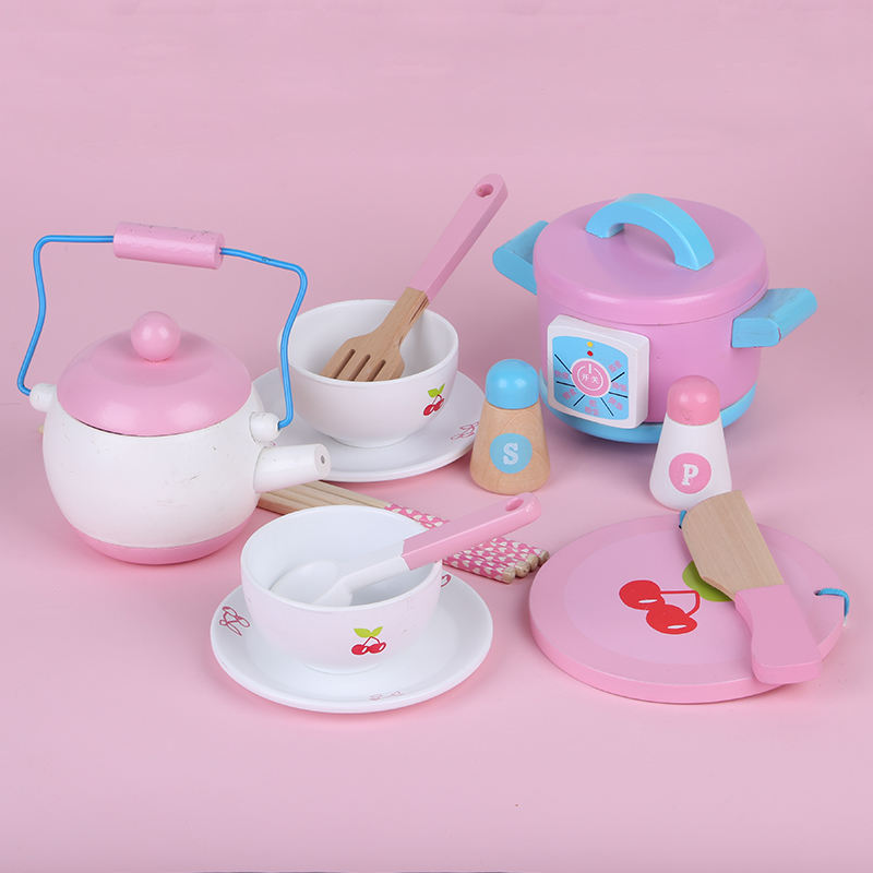 Wooden Role Pretend Toy Children Play Kitchen Cooking Pink Kitchenware Set Toy