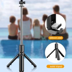 Handheld Mini All In One Tripod Folding Flexible Wireless Remote Control Bluetooth Selfie Stick With Tripod