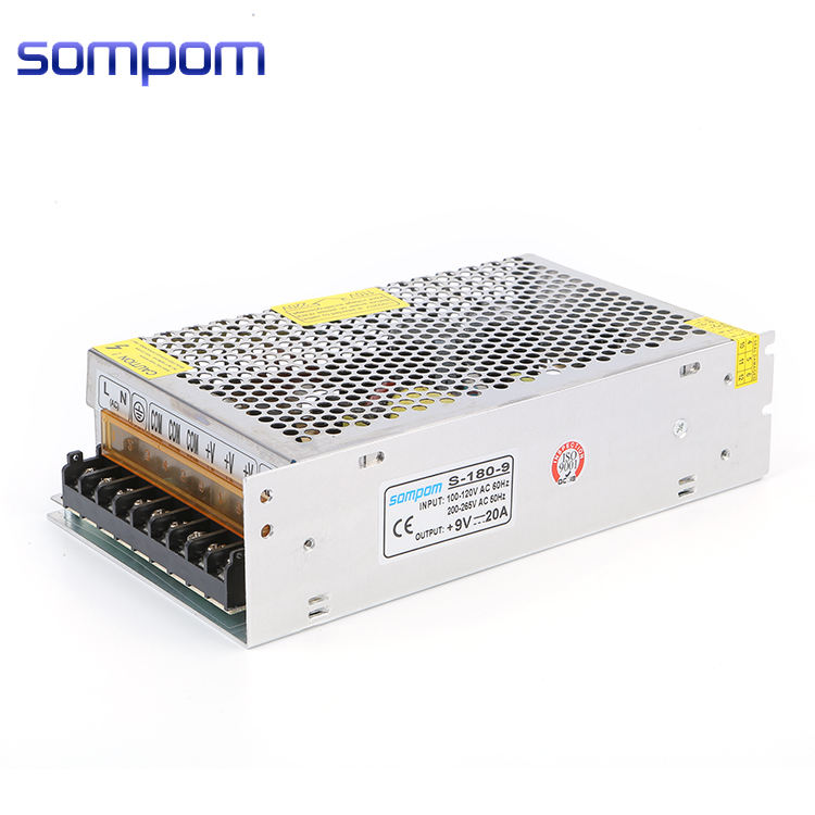 220 AC to dc switch mode SMPS LED lighting 9v 20a 180w dual multiple output power supply