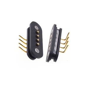 Spring Loaded 4 Pins 2.5 mm Magnet Connector Right Angle Male Female Data transmissioin Power Charge pogo pin magnetic