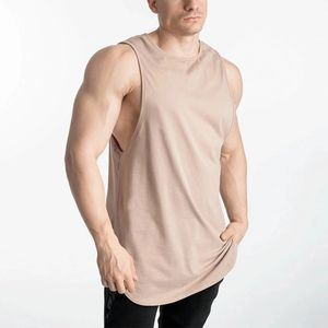 Loose fit long line bamboo tank tops curved hem sleeveless mens tank top gym