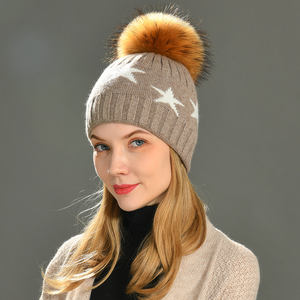 Factory Wholesale Winter Warm And Soft Knitted Beanies Hat Women Beanie Cashmere Wool Pom Hat