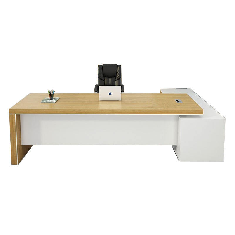 Custom made modern design wooden panel manager office furniture Boss Executive Desk Office Desk table With Side Table