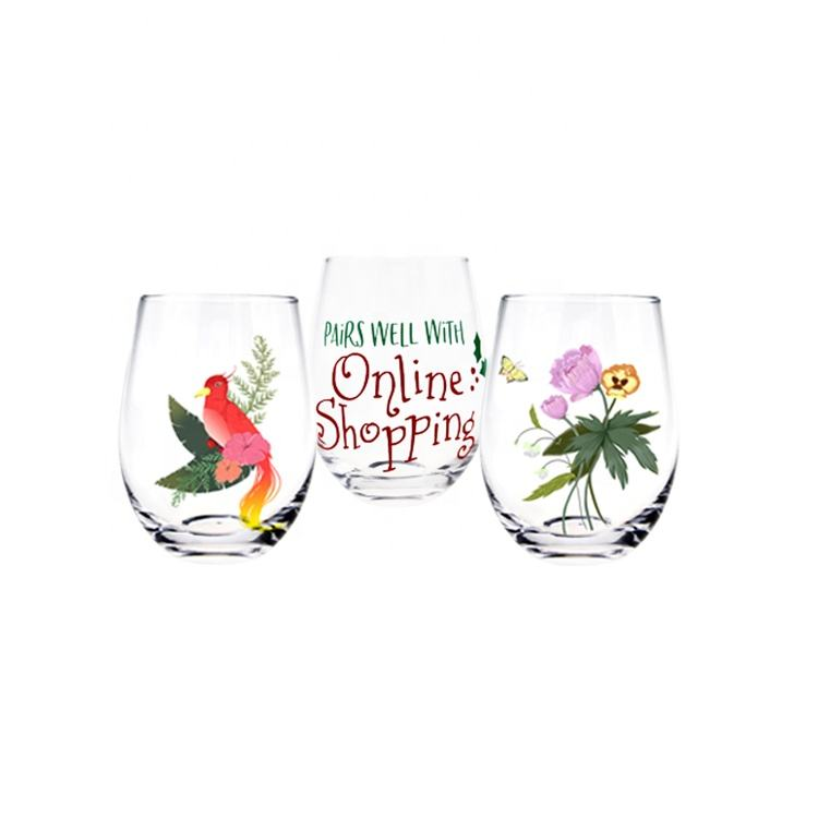Manufacture Wholesale Soda Lime Glass Stemless Sublimation Wine Glass