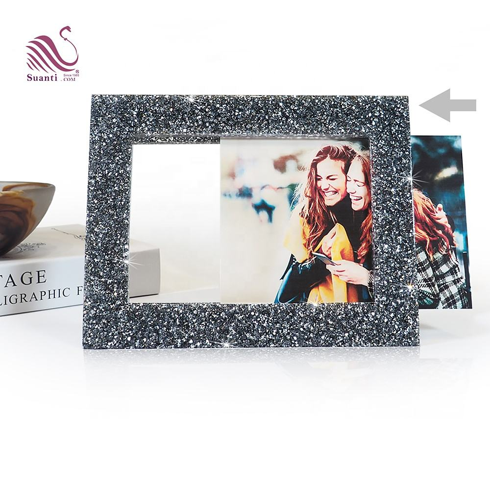 Crystal [ Frame Frames ] Photo Frame Manufacturers Suanti Diamond Polyresin Table Standing Decorative Art Funny Picture Frame Desk Square Nordic Multi Custom Crystal Photo Frames