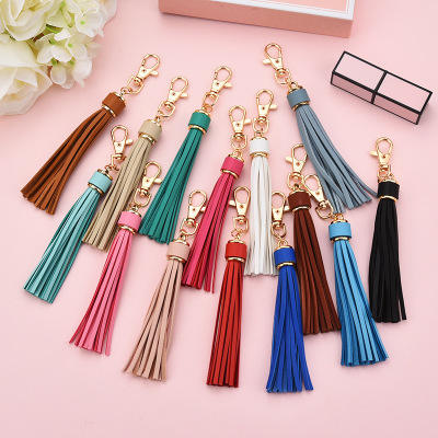 PU leather tassel keychain car bag accessories gold plating alloy DIY leather tassel pendant keychain