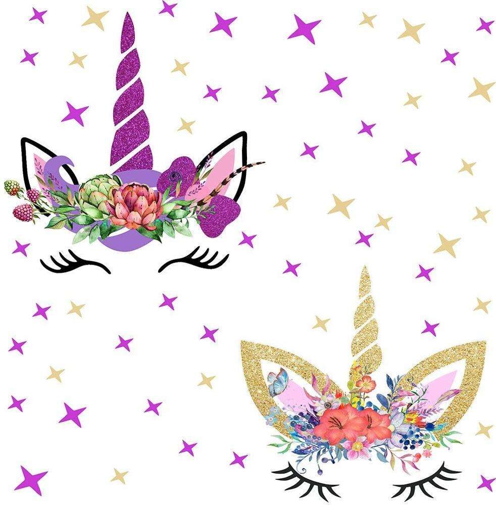 Happy Unicorn Decal, Unicorn Wall Decals Fairytale Wall Decal Girls Bedroom Home Decor and Stars