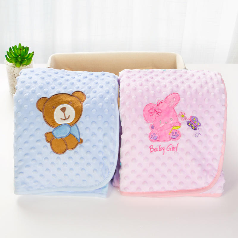 New products soft touch eco-friendly cute animal pattern wholesale dot minky baby blanket