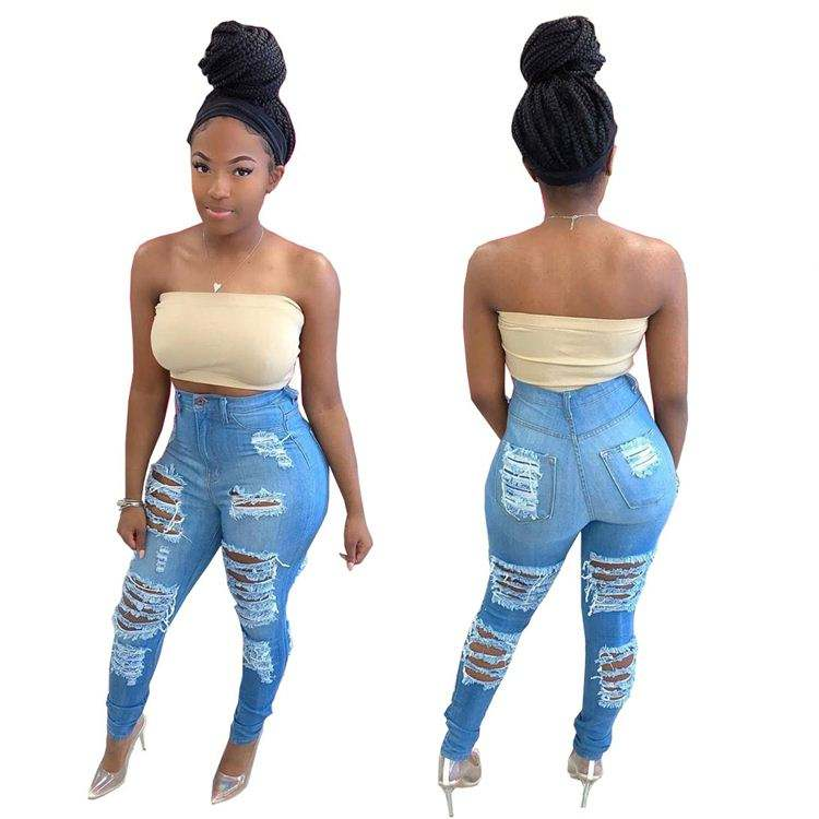 KC-060470 Casual fashion 2020 Summer new design hight waist denim pants Women Female Bottoms Ladies Trousers ripped jeans