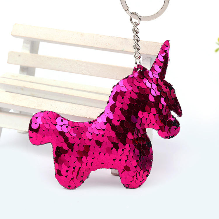 New products home decor keyring colourful glitter unicorn key chains