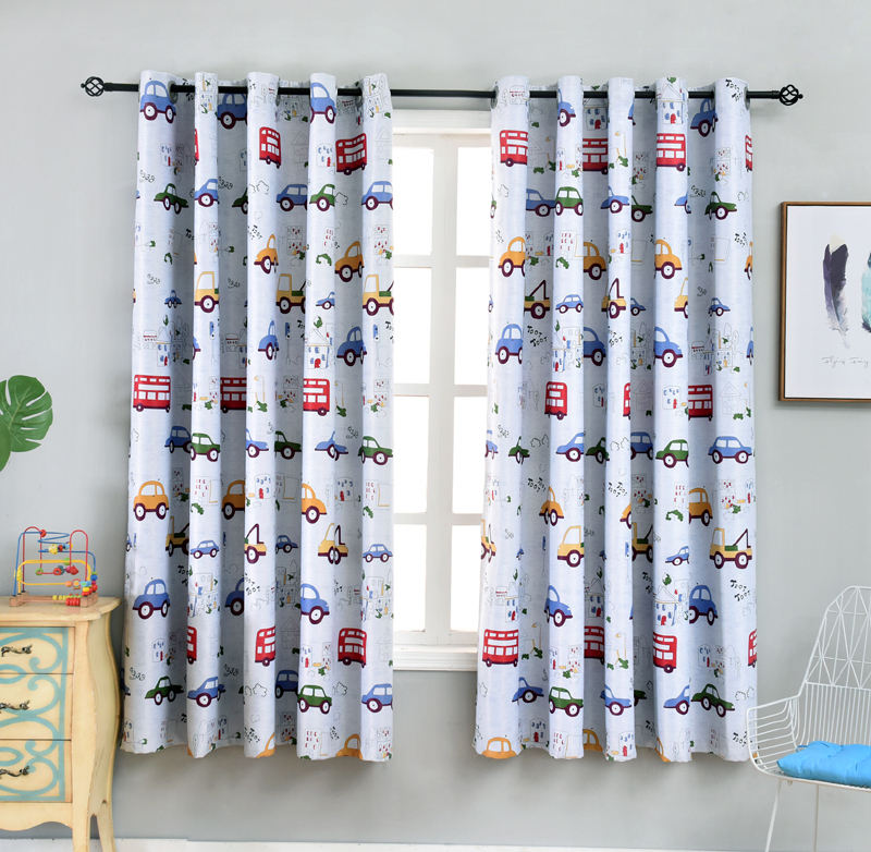 Car Print For Kids Boys Cartoon Blackout Curtains