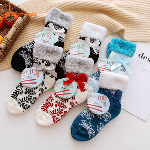 2020 Christmas Style Fuzzy Rolled-up Top Cute Fur Winter Women Socks