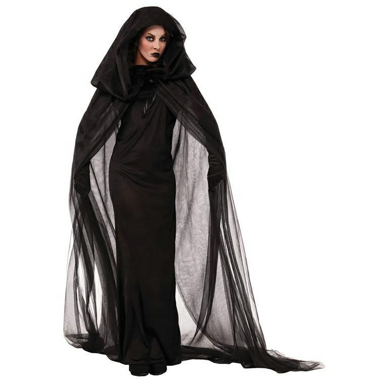 Halloween Vampire witch Black Death Ghost Hooded Cloak Long cosplay Dresses costumes