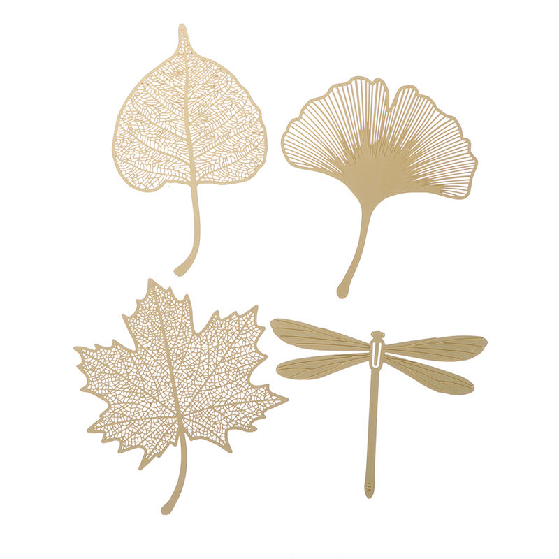 Creative Retro Golden Sycamore Leaves Metal Bookmark for School Students Vintage Gold Bookmark Gift