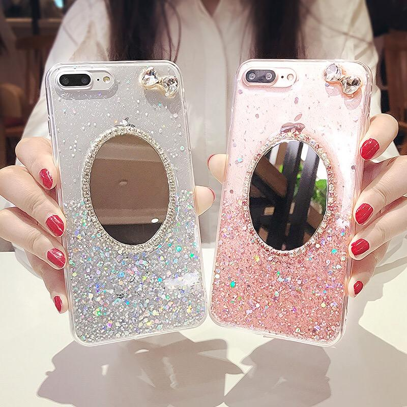 Shiny Phone Case with Mirror Phone Back Cover Fashion Lady Make Up Mirror Phone Case for iPhone 12 Pro Max/11/ X/XR/8/7/6